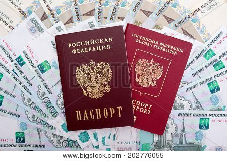 Russian passport, International passport of the Russian Federation and ruble  banknotes