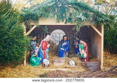 Figurines Of Nativity Scene In A Church