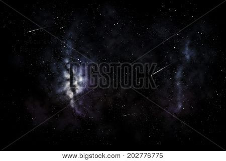 space, skyscape and astronomy - shooting stars and galaxy in night sky illustration