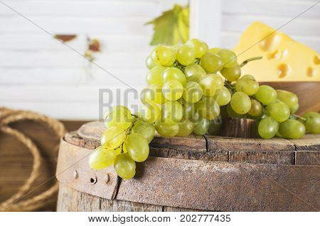 Still life of white grapes on a wooden barrel. Concept of the grape harvest wine making and viticulture.
