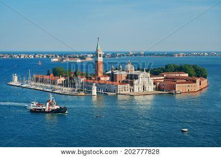 San Giorgio Maggiore church aerial view in Venice, Italy.