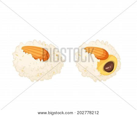 Coconut ladoo laddu stuffed chocolate indian sweets with almond on top. Vector illustration candy flat icon isolated on white.
