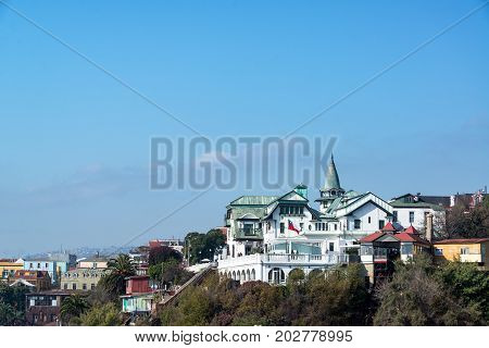 VALPARAISO CHILE - MAY 31: View of the historic Baburizza Palace in Valparaiso Chile on May 31 2014