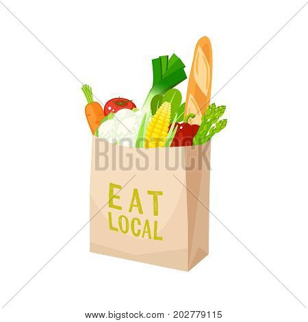Grocery bag veggies and baguette. Vector illustration cartoon flat icon isolated on white.
