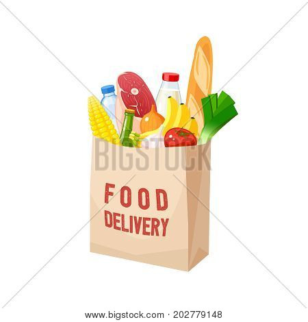 Grocery bag dairy meat oil veggies and baguette. Vector illustration cartoon flat icon isolated on white.