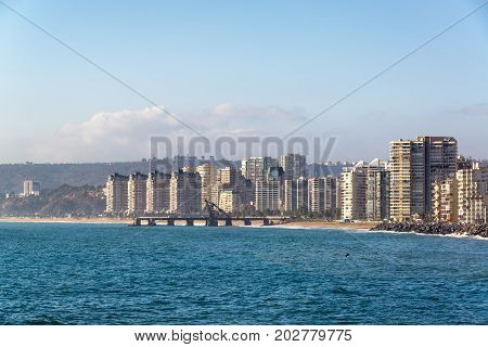 View of the Pacific Ocean and Vina del Mar Chile