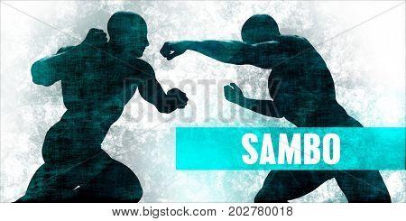 Sambo Martial Arts Self Defence Training Concept 3D Illustration Render