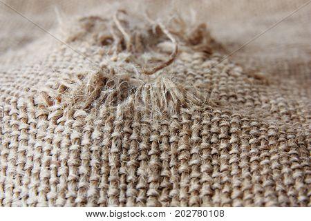 close up texture of coarse cloth, burlap
