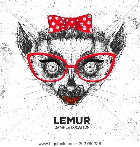 Retro Hipster animal lemur. Hand drawing Muzzle of animal lemur. Girl of 60s