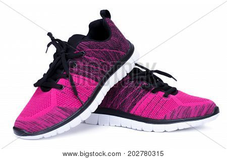 Pair Of Pink And Black Sport Woman Shoes Isolated On White Background.