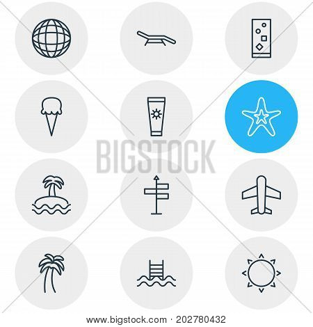 Editable Pack Of Sorbet, Cocktail, Guide And Other Elements.  Vector Illustration Of 12 Summer Icons.