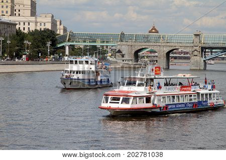 Moscow Russia - July 20 2017: Pleasure boats on the river Moscow.