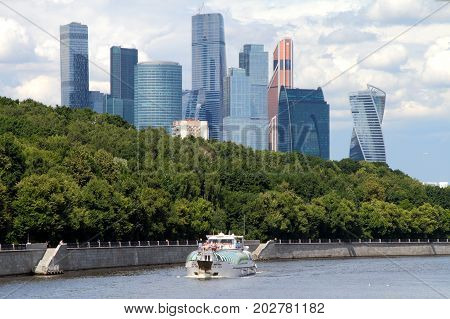 Moscow Russia - July 20 2017: View of Moscow river pleasure boat and Moscow International Business Center (Moscow City) Russia.