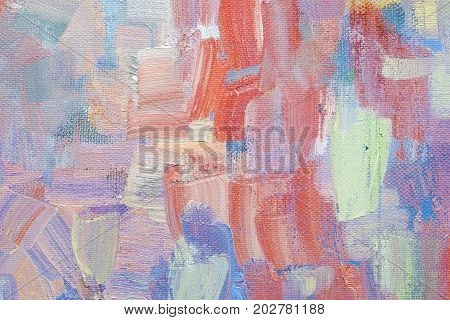 brushstroke with oil paints in pastel colors on canvas