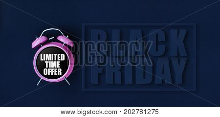 Limited Time Offer. Pink Alarm Clock On Black Background With Black Friday Paper Cut Text And Thin F