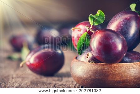 Plum. Healthy juicy ripe organic plums fruit close-up, on wooden table. Prune. Sweet dessert.