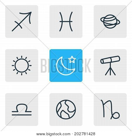 Editable Pack Of Archer, Sunny, Night And Other Elements.  Vector Illustration Of 9 Constellation Icons.