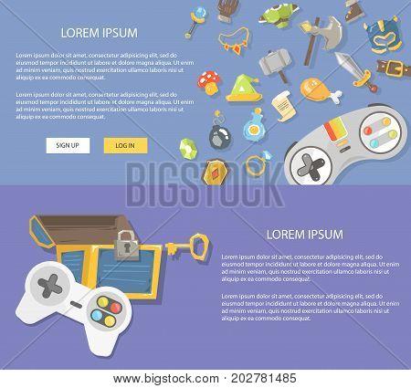 Flat design illustration gaming. Concepts web banner for website and app