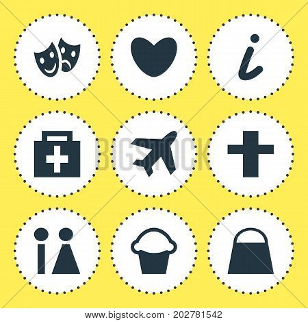 Editable Pack Of Drugstore, Aircraft, Cross And Other Elements.  Vector Illustration Of 9 Map Icons.