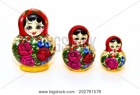 Russian Matryoshka doll in front isolated of a white background