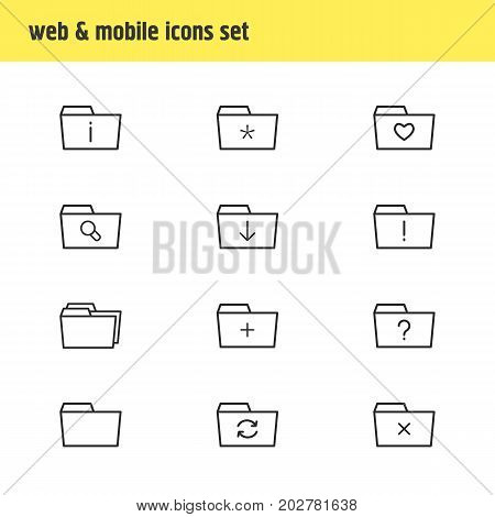 Editable Pack Of Plus, Magnifier, Significant And Other Elements.  Vector Illustration Of 12 Folder Icons.