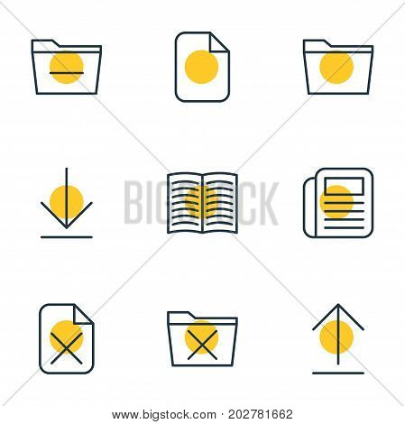 Editable Pack Of Template, Deleting Folder, Delete And Other Elements.  Vector Illustration Of 9 Bureau Icons.