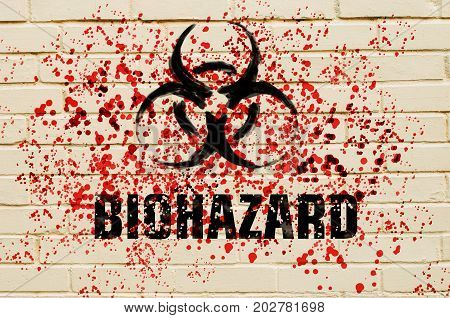 Biohazard Sign On The Wall With Red Toxic Sprays On The Wall