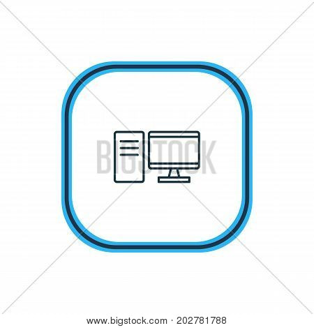 Beautiful Hardware Element Also Can Be Used As PC Element.  Vector Illustration Of Desktop Computer Outline.