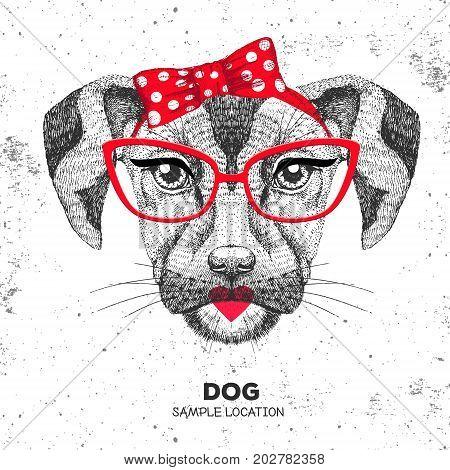 Retro Hipster animal dog. Hand drawing Muzzle of animal dog. Girl of 60s