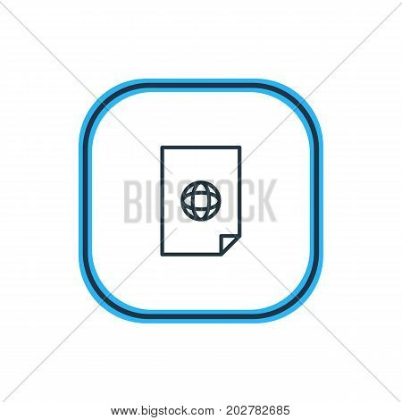Beautiful Document Element Also Can Be Used As Internet  Element.  Vector Illustration Of Web Outline.