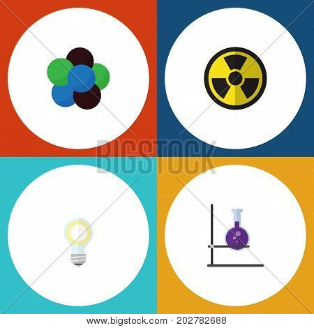 Flat Icon Study Set Of Flask, Irradiation, Lightbulb And Other Vector Objects