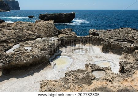 Crystallized Salt In A Rock Hole After The Sea Water Evaporated