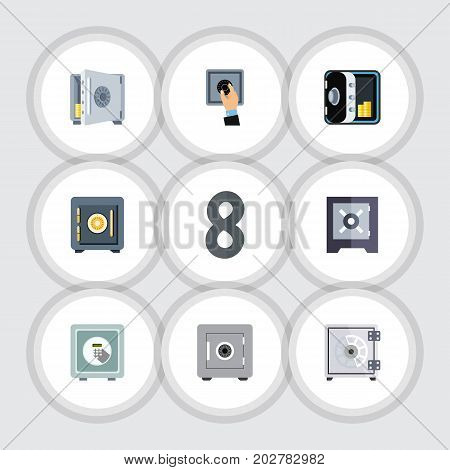 Flat Icon Closed Set Of Coins, Closed, Security And Other Vector Objects