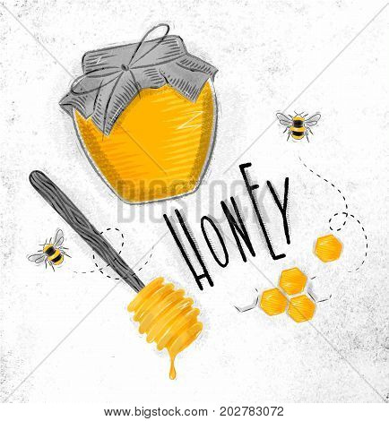Illustrated elements honey spoon honeycombs bank with honey bees lettering honey drawing on dirty paper background