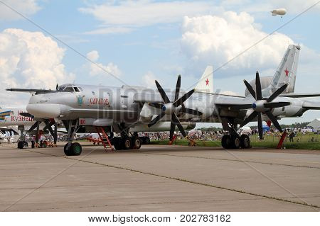 Moscow Region - July 21 2017: Modernized bomber TU-95MS