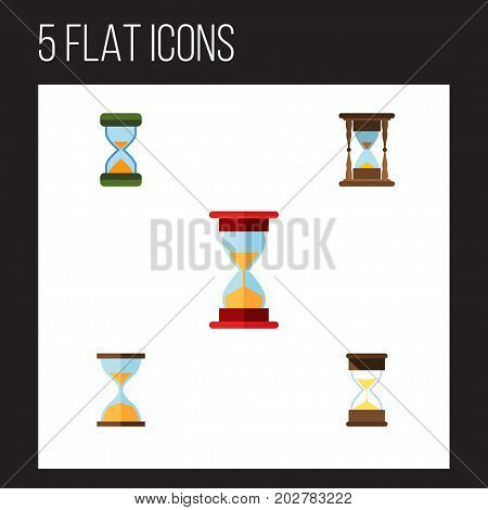 Flat Icon Timer Set Of Hourglass, Clock, Minute Measuring And Other Vector Objects