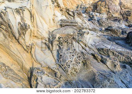 Tafoni Rock Formations in Coastal California. Bean Hollow State Beach, Pescadero, San Mateo County, California, USA.