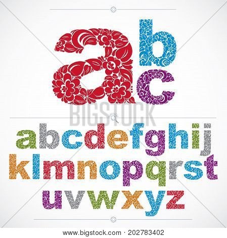 Floral alphabet sans serif letters drawn using abstract vintage pattern spring leaves design. Colorful vector font created in natural eco style.