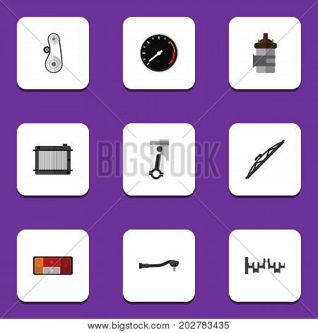 Flat Icon Component Set Of Input Technology, Tachometr, Heater And Other Vector Objects