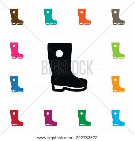 Galoshes Vector Element Can Be Used For Waterproof, Gumboots, Galoshes Design Concept.  Isolated Gumboots Icon.
