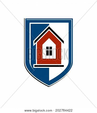 Safety idea abstract heraldic symbol with vector classic house. Real estate brand design element conceptual coat of arms.