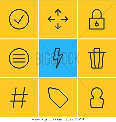 Editable Pack Of User, Closed, Flash And Other Elements.  Vector Illustration Of 9 Annex Icons.