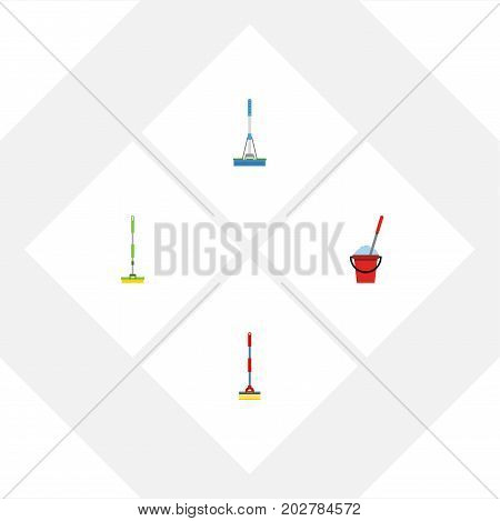 Flat Icon Mop Set Of Equipment, Sweep, Bucket And Other Vector Objects