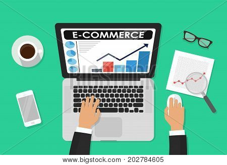 Person working on laptop computer analyzing e-commerce store technology vector illustration, flat developer working on office desktop, analytics banner, online shopping marketing research