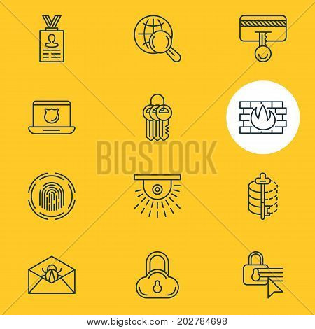 Editable Pack Of Safety Key, Confidentiality Options, Corrupted Mail And Other Elements.  Vector Illustration Of 12 Security Icons.