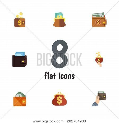 Flat Icon Wallet Set Of Money, Pouch, Currency And Other Vector Objects