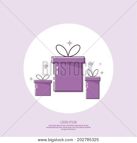 Bright color gift box. Trendy vector icon giftbox with ribbons and sparkly. Modern linear design for banners, graphic or website layout template.