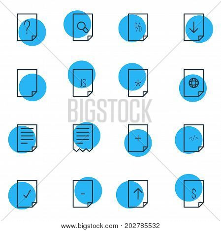 Editable Pack Of HTML, File, Question And Other Elements.  Vector Illustration Of 16 Page Icons.
