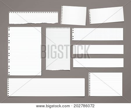 White striped note paper, copybook, notebook sheet stuck on dark brown background