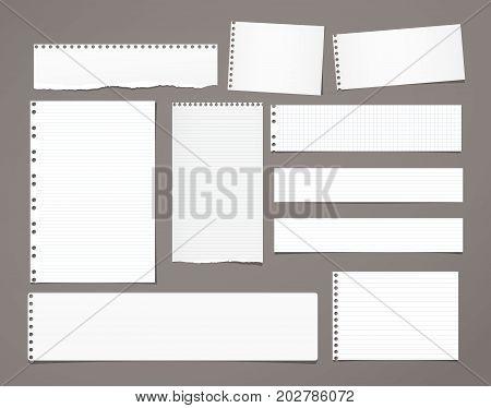 White striped note paper, copybook, notebook sheet stuck on dark brown background